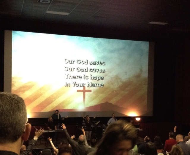 """Our God Saves"" was the first song we sang as a congregation.  We sang it together again today closing out our time at the theater"