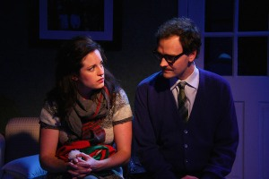 Ellie (Lisa Ermel) and Miles (Zachariah Stonerock) in Miles and Ellie at Phoenix Theatre.  From www.nuvo.net